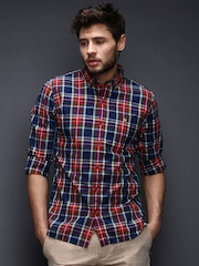 WROGN Men Red & Blue Checked Slim Fit Casual Shirt
