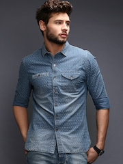 WROGN Men Blue Slim Fit Denim Casual Shirt