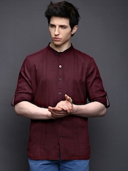 WROGN Men Wine-Coloured Slim Fit Casual Shirt