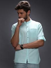WROGN Men Light Blue Linen Slim Fit Casual Shirt