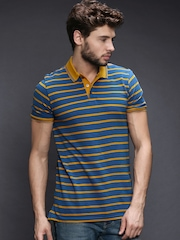 WROGN Men Blue & Yellow Striped Polo T-shirt