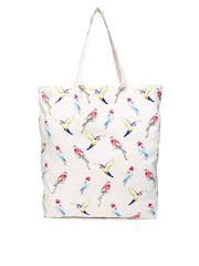 Accessorize Cream-Coloured Printed Tote Bag