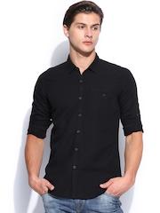 HRX Men Black Linen Smart Casual Shirt