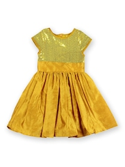 Aomi Girls Mustard Yellow Sequinned Silk Fit & Flare Dress