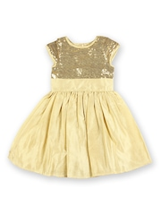 Aomi Girls Muted Gold-Toned Sequinned Silk Fit & Flare Dress