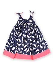 Aomi Girls Navy & White Bird Printed Fit & Flare Dress