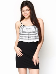 AND by Anita Dongre Off-White and Black Blouson Dress