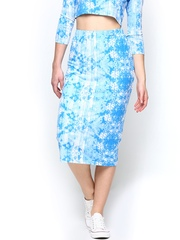 AND by Anita Dongre Blue & White Floral Printed Midi Skirt