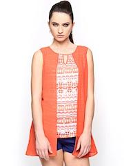 AND by Anita Dongre Women Orange & White Printed Top