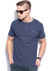 Fox Men Blue Melange Henley T-shirt