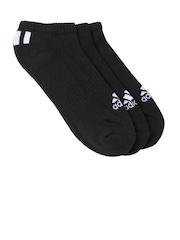 Adidas Unisex Set of 3 Black Ankle-Length Sport Socks