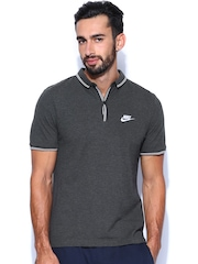Nike Men Charcoal Grey Polo T-shirt