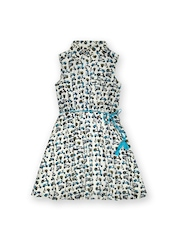 Miss Alibi Girls Off-White & Blue Printed Fit & Flare Dress