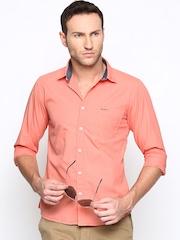 Pepe Jeans Men Peach-Coloured Semi Fit Casual Shirt