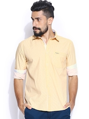 Pepe Jeans Men Yellow & Off-White Striped Semi Fit Casual Shirt