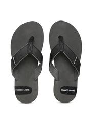 Franco Leone Men Black & Grey Flip-Flops