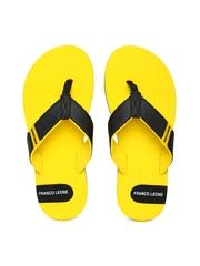 Franco Leone Men Black & Yellow Flip-Flops