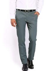 Black Coffee Men Grey Sharp Slim Fit Formal Trousers