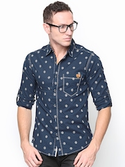 SPYKAR Men Navy Printed Casual Shirt