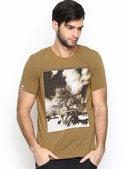 SPYKAR Men Khaki Printed T-shirt