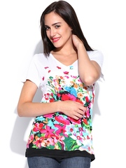Inmark Women Multicoloured Floral Printed T-shirt