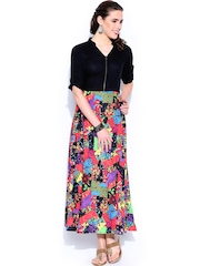 Anouk Black Printed Maxi Dress