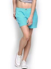 ONLY Women Blue Linen Blend Shorts