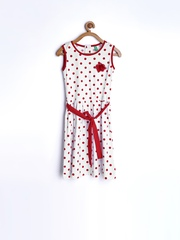 Gini and Jony Girls White & Red Polka Dot Printed Shift Dress