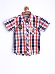 Gini and Jony Boys Orange & White Checked Casual Shirt
