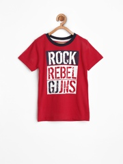 Gini and Jony Boys Red Printed T-shirt