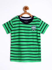 Palm Tree by Gini and Jony Boys Green Striped T-shirt