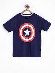Marvel by Kids Ville Boys Navy Printed T-shirt