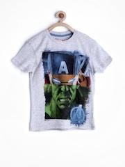 Marvel by Kids Ville Boys Grey Melange Printed T-shirt