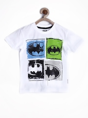 Batman by Kids Ville Boys White Printed T-shirt