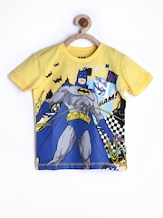 Batman by Kids Ville Boys Yellow Printed T-shirt