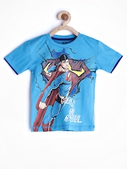 Superman by Kids Ville Boys Blue Printed T-shirt