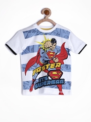 Superman by Kids Ville Boys White Printed T-shirt