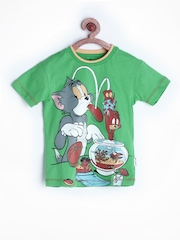 Tom & Jerry by Kids Ville Boys Green Printed T-shirt