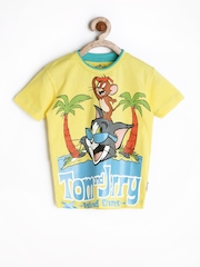 Tom & Jerry by Kids Ville Boys Yellow Printed T-shirt