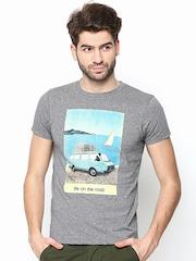 Jack & Jones Men Grey Melange Printed T-shirt