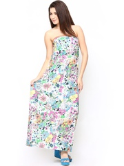 White Floral Printed Tube Dress Style Quotient