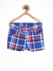 Dreamszone Girls Blue Checked Shorts