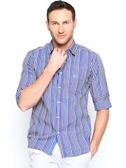 Parx Men Blue Striped Casual Shirt