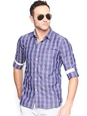 Parx Men Blue Checked Casual Shirt