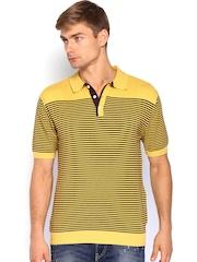 Wills Lifestyle Men Yellow & Brown Striped Polo T-shirt