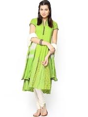 BIBA Women Lime Green & Cream-Coloured Printed Anarkali Churidar Kurta with Dupatta