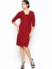 Wills Lifestyle Maroon Shift Dress