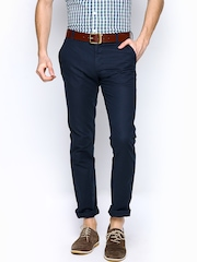 Allen Solly Men Navy Linen Blend Smart Slim Fit Chino Trousers