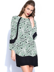 French Connection Black & Green Shift Dres