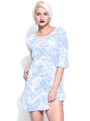 French Connection White & Blue Printed Shift Dress